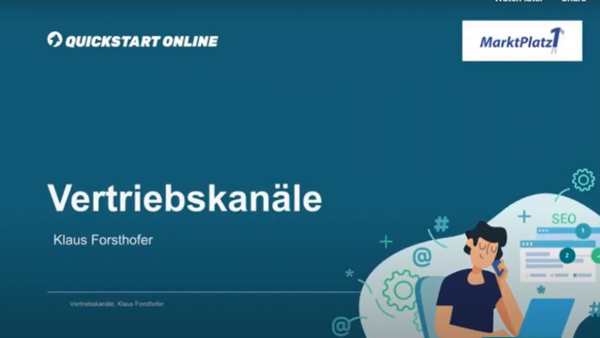 Dieser Onlinekurs zeigt den Online Vertrieb: digitaler PoS, Multi Channel Handel und Omnichannel Handel. Trainer ist Klaus Forsthofer, MarktPlatz1.