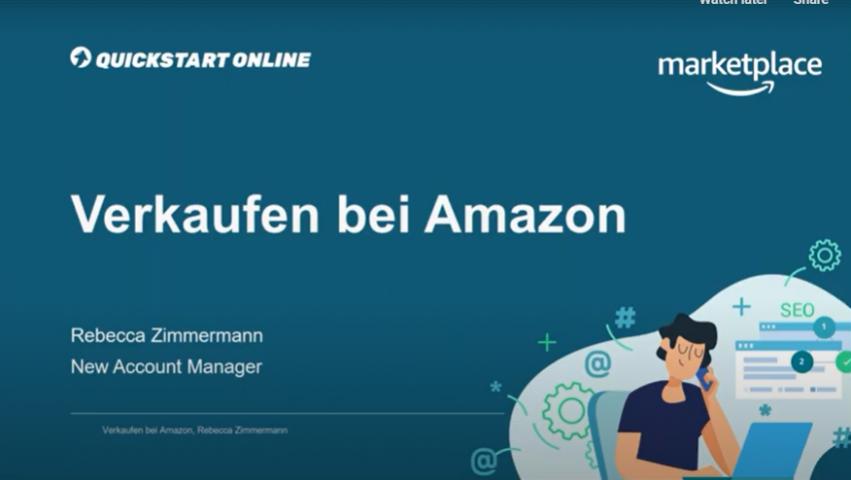 Dieser Onlinekurs zeigt die Möglichkeiten des Verkaufs auf dem Online Marktplatz Amazon. Trainer ist Rebecca Zimmermann, Amazon.